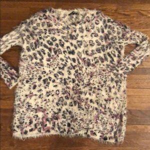Foreign exchange animal print fur tunic sweater